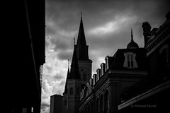 Storm clouds over New Orleans (michael.mu) Tags: leica m240 50mm noctilux leicanoctiluxm50mmf095asph bw blackandwhite neworleans louisiana frenchquarter skyline storm clouds