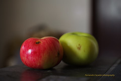 Apples, organic. (Capturedbyhunter) Tags: fernando caçador marques fajarda coruche ribatejo santarém portugal pentax k1 mamiya sekor 114 14 f14 55mm 55 apples organic maçãs biológicas bokeh dof natural light luz manual focus focagem foco