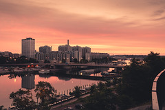 Hakaniemi Sunrise (Bunaro) Tags: hakaniemi finland suomi helsinki myhelsinki sun rise sunrise dawn clouds apartment house bridge cityscape waterscape nordic