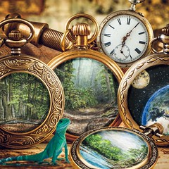 EDGE  OF  TIME (WOODCASTLEs) Tags: watches watch pocketwatch lizard creek night forest woods tinyart watercolour photo miniatureart miniature montage green nature landscape time