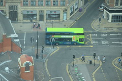 High above an Arriva Volvo B5LH Electric Hybrid (paulburr73) Tags: liverpool stjohnsbeacon highup tower viewingpoint doubledecker arriva volvobus b5lh hybrid electric wrightbus wright eclipsegemini3 merseyside northwest bus transport h4521f speke greenlane 2017 july summer