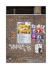 Street Art (Subdude, Kafka, Etc), East London, England. (Joseph O'Malley64) Tags: subdude kafka streetartists streetart urbanart publicart freeart graffiti eastlondon eastend london england uk britain british greatbritain pasteups wheatpaste paper mixedmedia tags tagged politics worldpolitics worldleaders dickheads brickwork bricksmortar cement pointing capstones concrete steelmesh tarmac litter detritus rubbish donaldtrump vladimirputin kimjongun america russia northkorea art artists artistry artwork urban urbanlandscape fujix x100t accuracyprecision