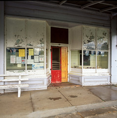 Murtoa (Westographer) Tags: murtoa victoria australia countrytown rural shopfront bakery shop patina flags painteddoors australianflags oldschool vintage film fujivelvia transparency mediumformat square 6x6 hasselblad weathered