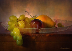 Summer Painting ... (MargoLuc) Tags: summer fruits delights grapes pear plum glass dish wooden table natural light window soft stilllife natura morta texture skeletalmess classic indoor