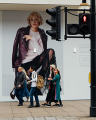 Four Tourists - Oxford Street (stevedexteruk) Tags: billboard fashion people advert advertising trafficlight 2017 city westminster bhs