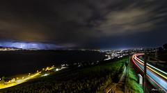 Le Lausanne Express électrique (MarKus Fotos) Tags: orage orages storm lausanne suisse switzerland train nuit night thunderstorm thunder thunderstrike