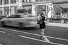 """""""Taxi!"""" (John St John Photography) Tags: streetphotography candidphotography fifthavenue 17thstreet newyorkcity newyork woman hailing taxi taxicab slowshutterspeed cab motion gap 122 people peopleofnewyork bw blackandwhite blackwhite blackwhitephotos johnstjohn"""