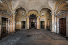 Welcome (ProfShot - Perry Wiertz) Tags: urban urbex traveling travel hall architecture place palazzo ceiling door doors old dust rust hidden lost forbidden forgotten abandoned derelict decayed decay lamp