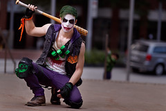 They-call-him_TheJoker_003 (Besisika) Tags: montreal comic con 2017 joker dark night character cosplay manga cosplayer magent green strobe flash ocf outdoor portrait violence canon 135mm 25faves