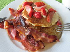 Canadian Maple ... #happycanada150 (Mr. Happy Face - Peace :)) Tags: bacon strawberries oatpancakes maple srup caloriewise hearty art2017 cowtown stampede breakfast stacked hospitality flickrfriends canadiana metallic
