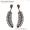 14k Yellow Gold 2.33 Ct Diamond Pave Feather Dangle Earrings Handmade 925 Silver (couturechics.facebook1) Tags: diamond pave gold fashion dangle designer new fishbone newjewelry earrings silver sterling