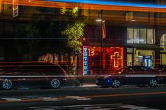 tattoo 13 (pbo31) Tags: oakland eastbay alamedacounty night dark july summer 2017 boury pbo31 lightstream motion traffic roadway black temescal neon red 13 tattoo window sign telegraphavenue shafter cross