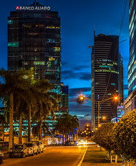 Series: Costa del Este, Panama (my neighborhood) (Bernai Velarde-Light Seeker) Tags: costadeleste panama city centralamerica centroamerica ciudad noche night longexposure exposicionlarga bernai velarde buildings apartments edificios apartamentos banco bank modern highrise skyscraper rascacielo lights luces