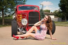 Annalise at Street Machine Nationals (dtredinnick13) Tags: model female streetrod car automobile automotive auto minnesota minnesotastatefairgrounds ford stpaul streetmachinesummernationals pinup red hotrod nikon nikond800 nikon2470