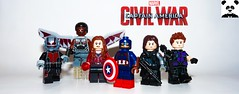 Team Cap (Random_Panda) Tags: marvel lego figs fig figures figure minifigs minifig minifigures minifigure purist purists character characters comics superhero superheroes hero heroes super comic book books films film movie movies tv show shows television avengers avenger captain america cap hawkeye black widow hulk iron man thor shield assemble banner bruce age ultron bucky vision scarlet witch panther falcon ant antman war machine rhodey natasha romanov clint barton steve rogers tony stark peter parker scott lang civil