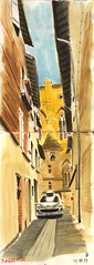 170712 Rabastens, impasse (Vincent Desplanche) Tags: croquis sketch sketchbook rabastens tarn occitanie watercolor aquarelle seawhiteofbrighton seawhitesketchbook carandache neocolor fabercastell polychromos colorpencils urbansketchers usk uskfrance