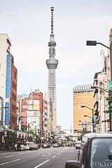 Tokyo City (PHOTOGRAPHYSUAT) Tags: tokyo skytree city road life citycape nikon 2470mm hot colors cars light lines lamp blue sky ff