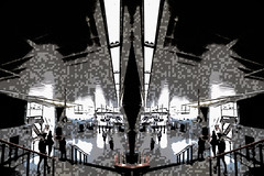 Pixel Perfect (Steve Taylor (Photography)) Tags: pixel art digital architecture steps stairs staircase black blue pink eerie people uk gb england greatbritain unitedkingdom london distorted glare lines perspective texture mirrored mirror image shoreditchhighstreetstation station