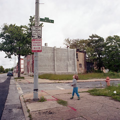 (patrickjoust) Tags: tlr twin lens reflex 120 6x6 medium format film c41 color negative manual focus analog mechanical patrick joust patrickjoust baltimore maryland md usa us united states north america estados unidos llewelyn kid boy street name broadway looking up row house home urban city kodak portra 400