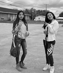 Oji-Cree Girls (photoluver1) Tags: monochrome portrait people girls women ladies pretty beauty blackandwhite street streetshot blackdiamond