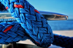 Summer on the Sound (janetbland) Tags: white red canoneos line cleat rope water seaside blue boat