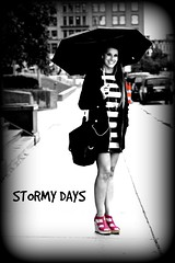 STORMY DAYS (marsha*morningstar) Tags: umbrella woman blackandwhite pink shoes purse downtown rainy day grand rapids