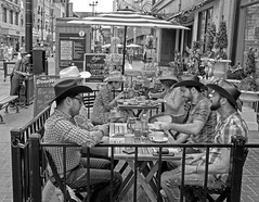 Calgary Stampede, Downtown Action (Sherlock77 (James)) Tags: calgary downtown stephenavenue streetphotography people man woman patio restaurant cowboyhat