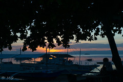 Chilling (mathieuo1) Tags: philippines bohol panglao beach asia far shadow sun sunset landscape sea seascape seashore chill relax tree boat fisherman horizon travel explore discover color nikon dlsr 2470 wide panorama lines mathieuo island summer freedom