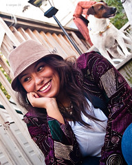 Anna Matos (Kamille Vargas) Tags: dog wishbone jack russel terrier hat woman yard fashion