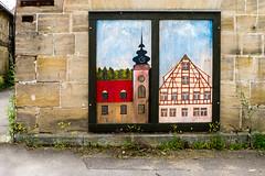 Kunst am Bau in Lichtenau   [Explored] (fotomanni.de) Tags: bayern fachwerk franken hauswand kirchturm lichtenau malerei mittelfranken sandstein wandbild marode originell
