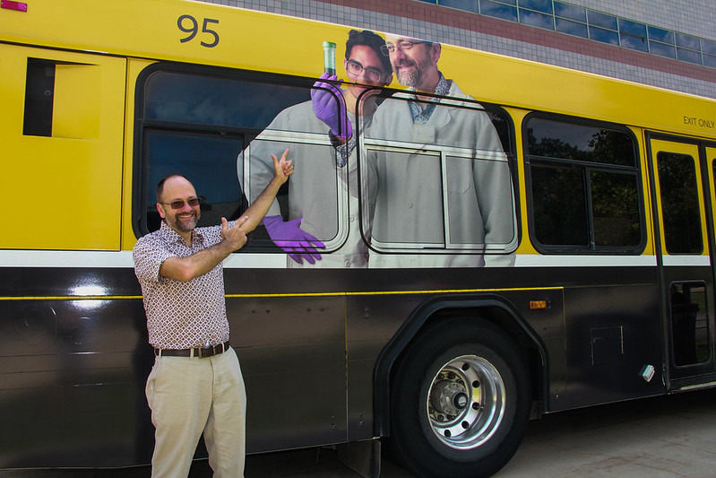 Robert Cornell points to himself on the new Cambus
