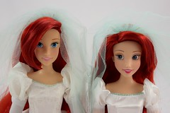 Once Upon a Wedding Ariel (2011) vs Classic Wedding Ariel (2017) - Portrait Front View (drj1828) Tags: disneystore disneyclassicdollcollection ariel wedding 2017 disneyprincessclassicdollcollection 1112inch princess disney deboxed standing onceuponawedding 2011 groupphoto comparison sidebyside