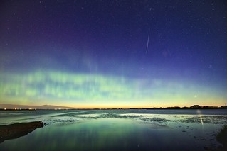Meteor and Venus with aurora
