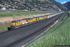 The First Intermountain Power Coal Train (jamesbelmont) Tags: train locomotive railroad ge c307 coal utah utahrailway wattisplateau spanishforkcanyon intermountainpowerproject