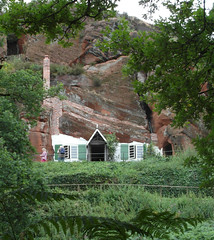 Rock dwelling (bryanilona) Tags: kinver rockdwellings caves sandstone houses renovation chimney windows shutters holyaustin tourists staffordshire citrit
