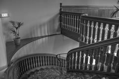 Staircase at Rotorua Museum (vicmarnz) Tags: stairs staircase museum rotorua rotoruamuseum blackandwhite hdr railings balustrades newzealand