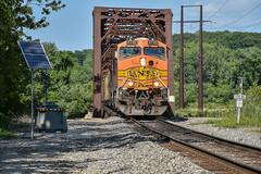 Rolling into Missouri while in Iowa. (Machme92) Tags: bnsf burligrton bn ge trains tracks railroad railfanning railroads railfans rails rail row railroading railfan nikon missouri sky iowa river bridge