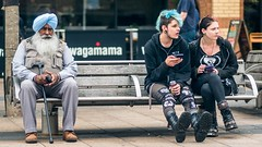 * (Timos L) Tags: street candid old man boy girl colored hair bench square coventry uk midlands olympus omd em5ii 7518 timosl