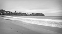 South Bilgola Headland Seascape in Black and White (Merrillie) Tags: daybreak sand landscape nature water newsouthwales rocks nsw beach scenery monochrome australia clouds newport earlymornings waterscape sea blackandwhite dawn seascape