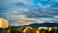 Balcony View (Khalid H Abbasi) Tags: nikond5500 tamron balcony sky skyline rainbow clouds plovdiv bulgaria rooftopchimney hill mountain