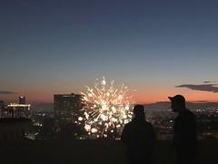 Fireworks above Westlake, LA (p.bjork) Tags: fireworks losangeles westlake macarthurpark skyline fourthofjuly 4thofjuly independenceday twilight