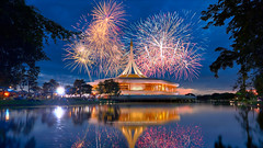 Fireworks commemorate the reign of King Rama IX at Suan Luang Rama IX (Rotationism) Tags: luang rama suan ix background thailand bangkok beautiful celebrate sky park light holiday bright celebration fireworks party night event fire nature birthday blue public color happy colorful landscape festive anniversary display festival explosion burst majesty firework outdoors garden reflection twilight dusk pond frame water landmarks