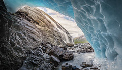 Between a rock and a hard place :) (Dahai Z) Tags: alaska cave glacier hdr ice icecave panorama rocks summer2017 valdez water worthingtonglacier waterfall
