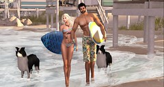 surf day at Baja Cove (nicandralaval1) Tags: faboo summerhunt beach beachwear swimwear surfing surfboard missjewell tattoo freebies maitreya secondlife firestormviewer glamaffair lelutka bento exile nomatch couple male female mesh lwposes comesoonpose 7deadlys{k}ins bajacove