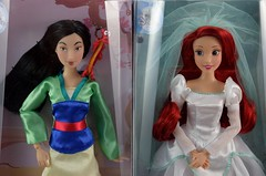 2017 Mulan and Wedding Ariel Classic Dolls - Disney Store Purchases - Boxed - Full Front View (drj1828) Tags: disneystore disneyclassicdollcollection ariel mulan wedding greendress boxed 2017