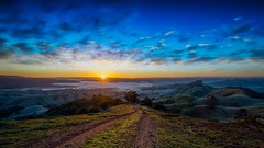 Dirt track to Shangri La (Chas56) Tags: sunrise victoria australia country hills rollinghills morning track fog frost canon canon5dmkiii panorama 1635mm wideangle vista view landscape clouds color colour ranges sun