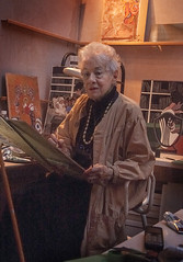Lillian at work (jonathan charles photo) Tags: liliandelevoryas artist painter robinamis writer spiritual studio portrait painting art photo jonathan charles