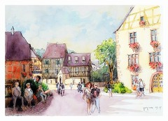 Kaysersberg - Alsace - France (guymoll) Tags: kaysersberg alsace france grandest colombages croquis sketch aquarelle watercolour watercolor
