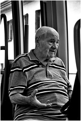 tell me more (marcobertarelli) Tags: tell more dialogs expressions age old wise man street photography monochrome monochromatic tram light shadow life stolen shot