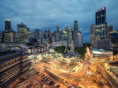 Chinatown Under Construction (Scintt) Tags: singapore marina bay exposure light evening dramatic surreal travel urban exploration buildings cityscape city skyline architecture offices business tanjong pagar central district cbd financial jon chiang photography scintillation scintt sky clouds residential sony a7r canon 17mm tse tilt shift exclusive tourism shopping property dusk wide angle residences banks glow pano panorama stitched starburst lens flare night twilight chinatown outram buddha tooth relic temple traffic trails long slow shutter cranes